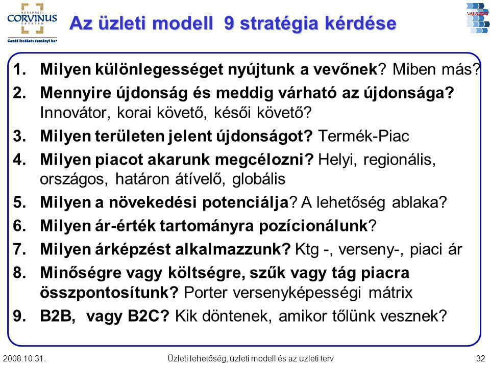Az üzleti modell 9 stratégia kérdése