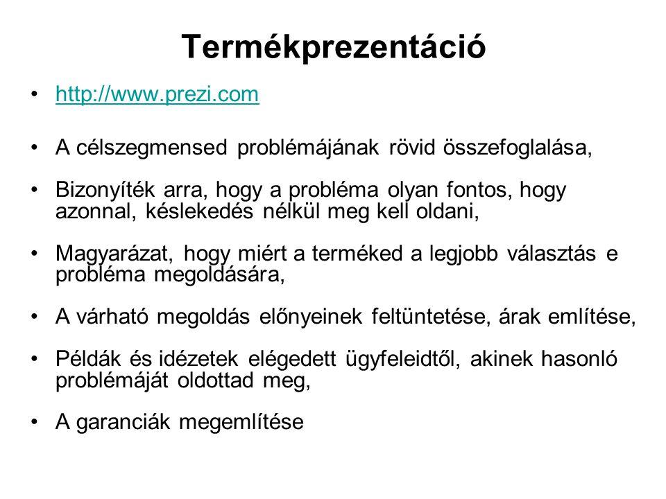 Termékprezentáció http://www.prezi.com