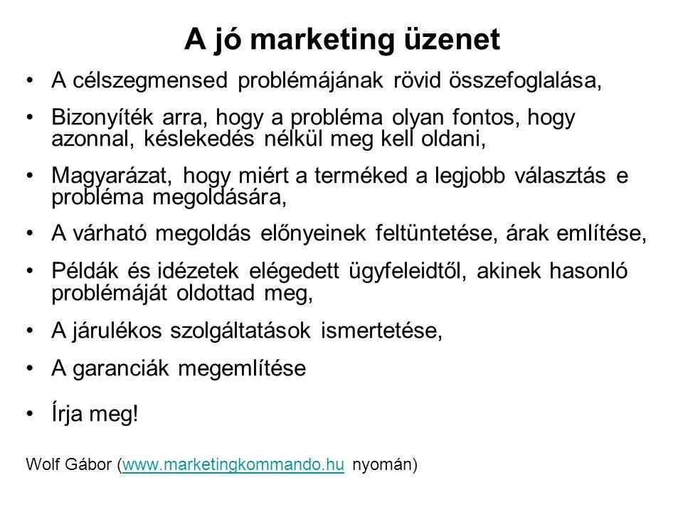 A jó marketing üzenet A célszegmensed problémájának rövid összefoglalása,