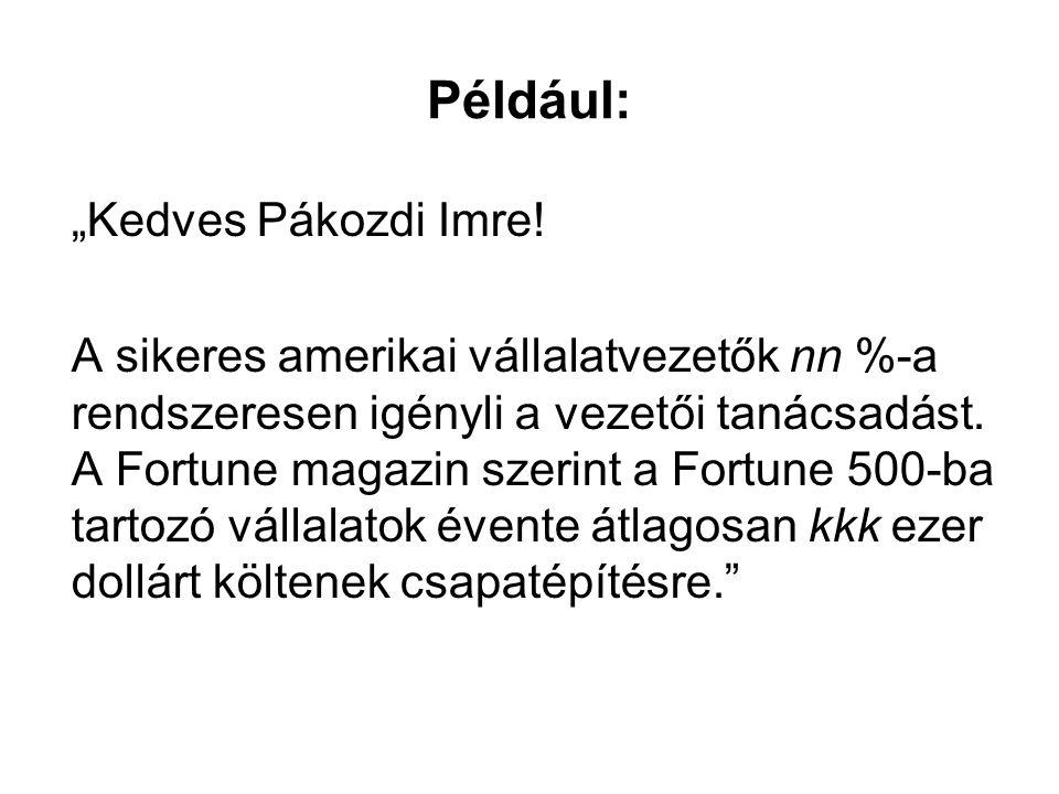 """Például: """"Kedves Pákozdi Imre!"""