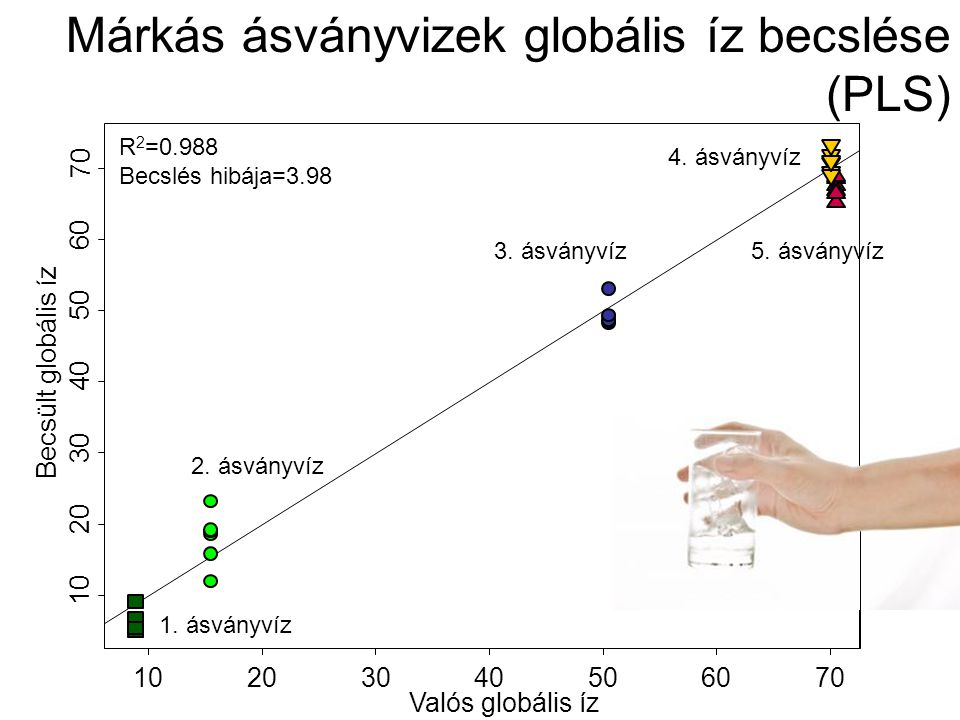 Márkás ásványvizek globális íz becslése (PLS)