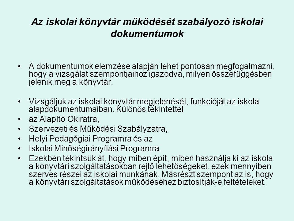 Az iskolai könyvtár működését szabályozó iskolai dokumentumok
