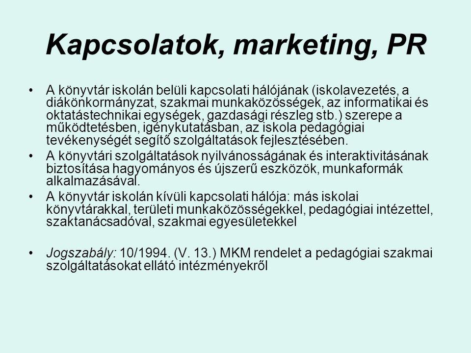 Kapcsolatok, marketing, PR
