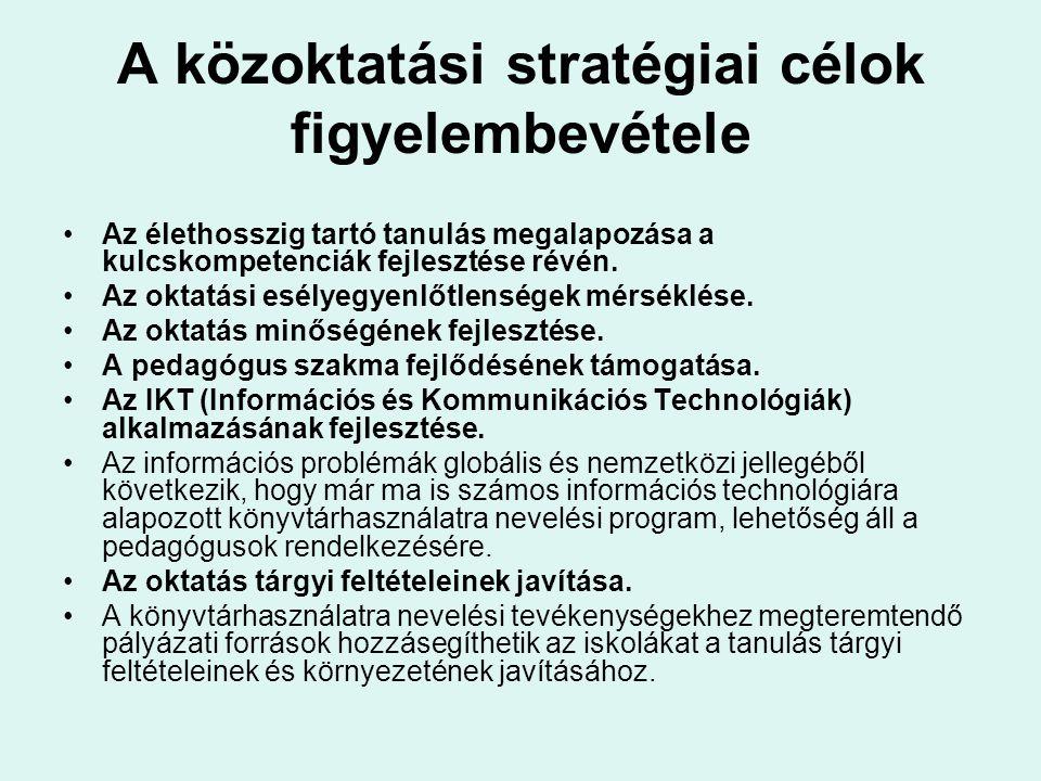 A közoktatási stratégiai célok figyelembevétele