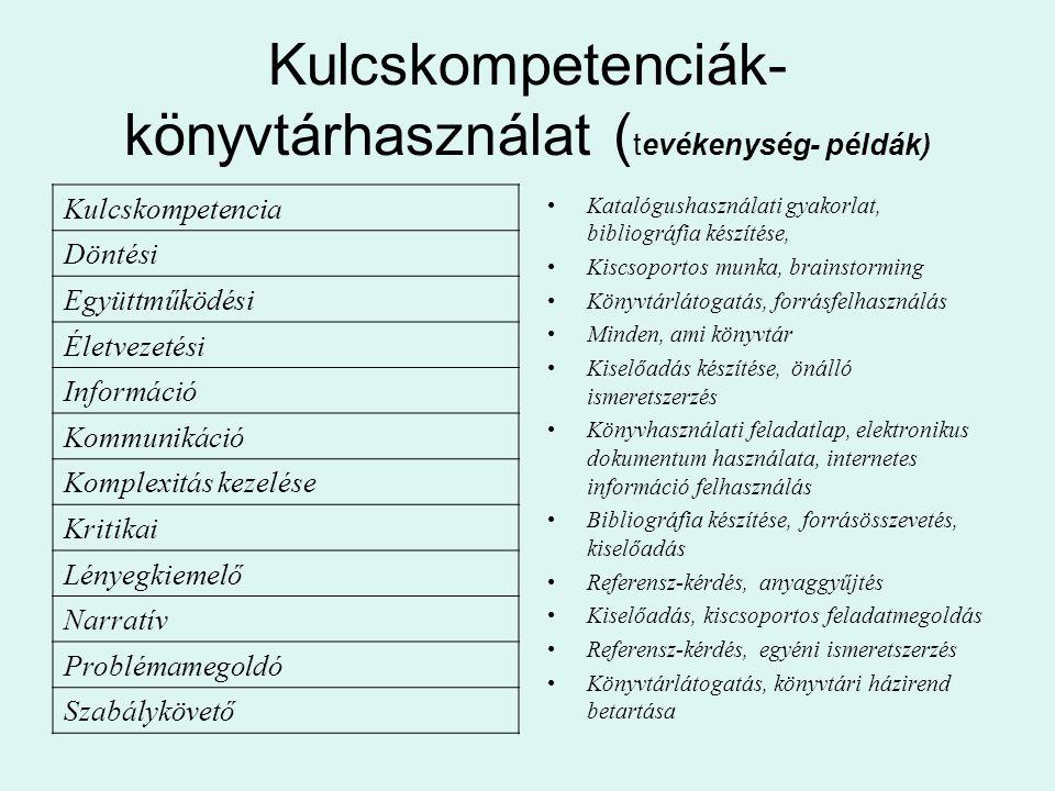 Kulcskompetenciák-könyvtárhasználat (tevékenység- példák)