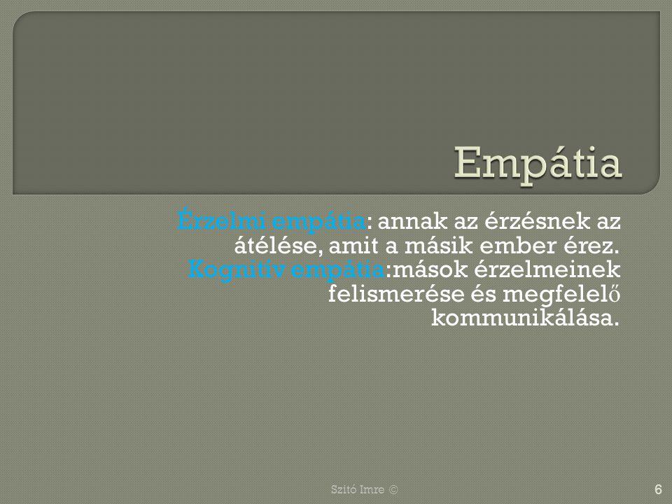 Empátia Érzelmi empátia: annak az érzésnek az átélése, amit a másik ember érez.