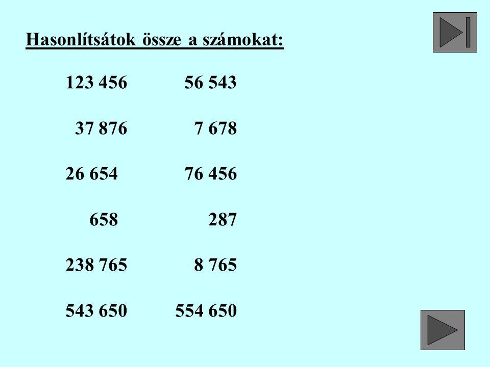 Hasonlítsátok össze a számokat: