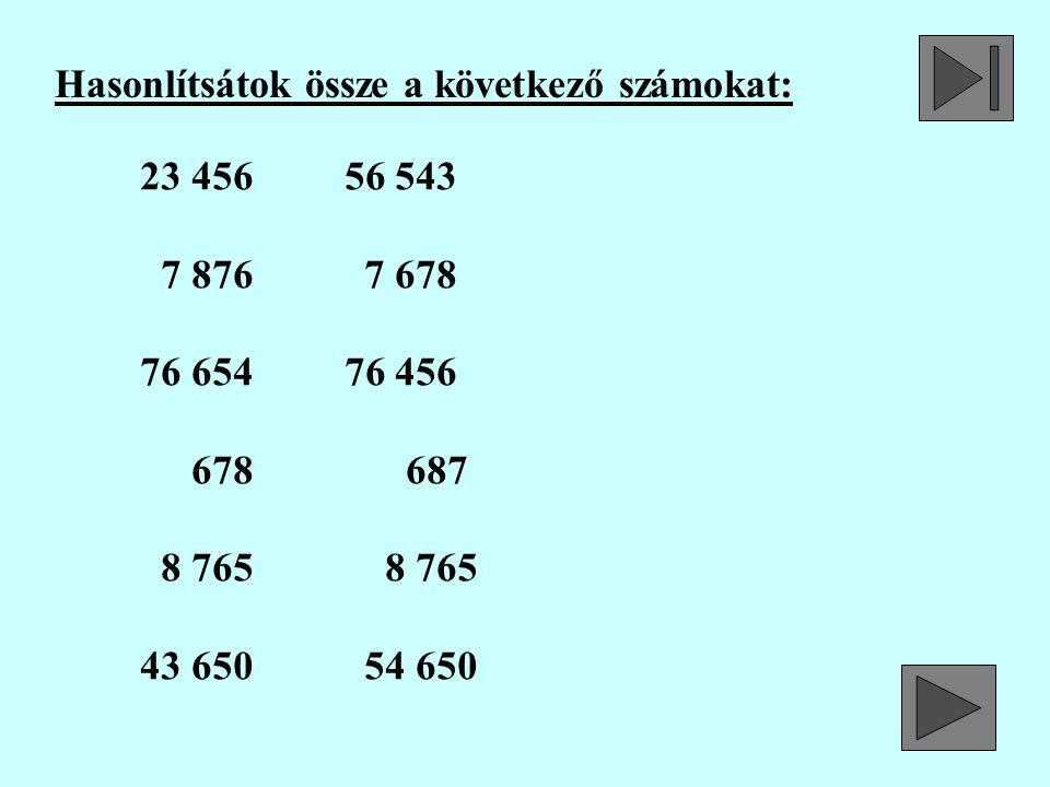 Hasonlítsátok össze a következő számokat: