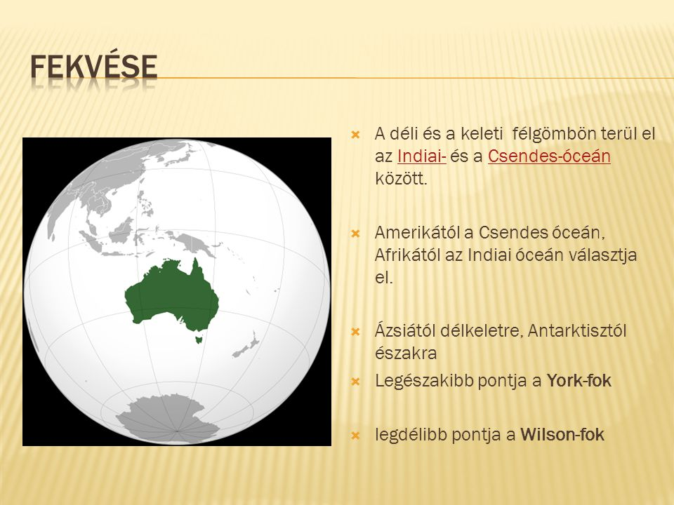 Fekvése A déli és a keleti félgömbön terül el az Indiai- és a Csendes-óceán között.