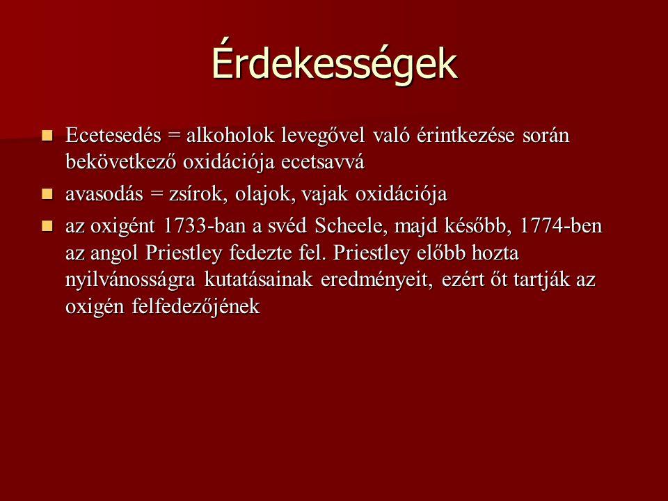 Érdekességek Ecetesedés = alkoholok levegővel való érintkezése során bekövetkező oxidációja ecetsavvá.