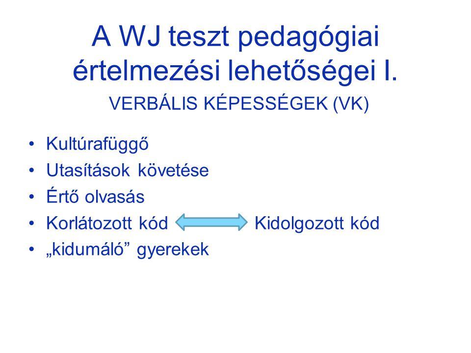 A WJ teszt pedagógiai értelmezési lehetőségei I