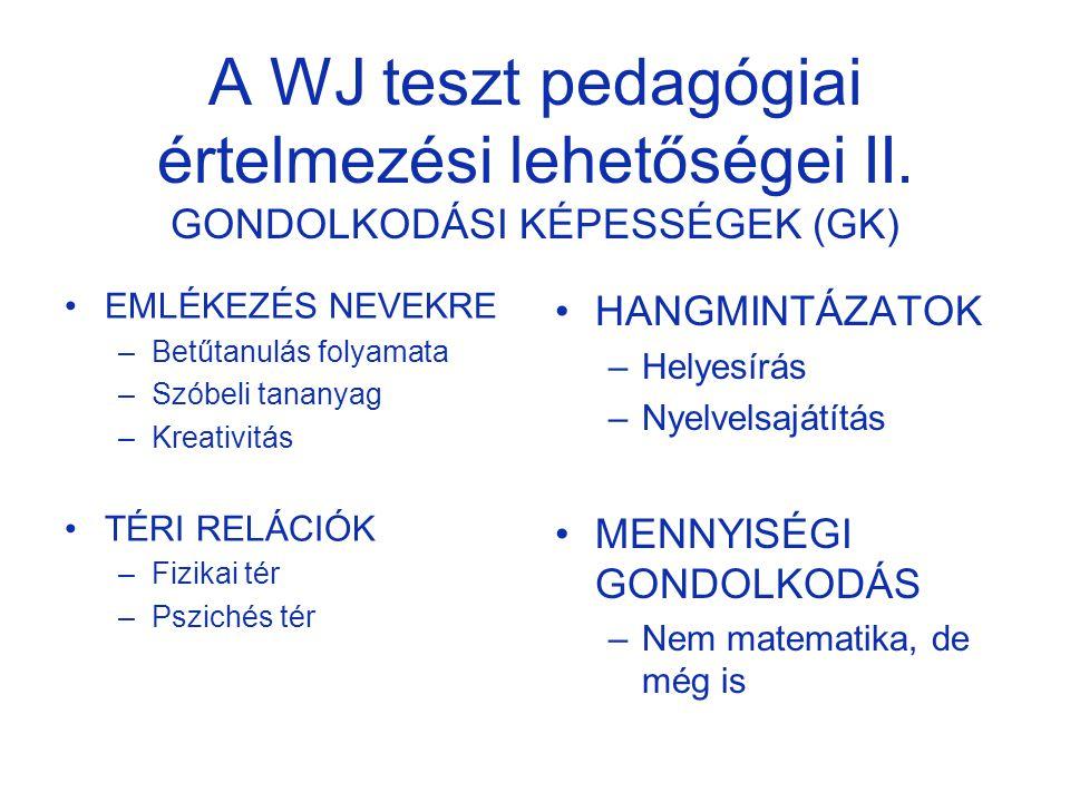 A WJ teszt pedagógiai értelmezési lehetőségei II