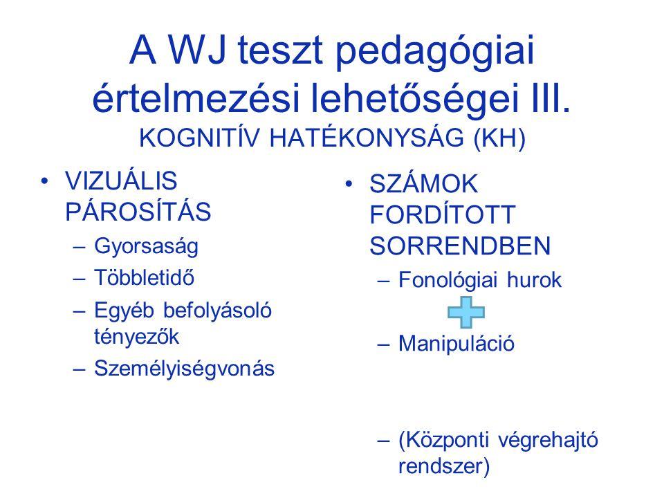 A WJ teszt pedagógiai értelmezési lehetőségei III