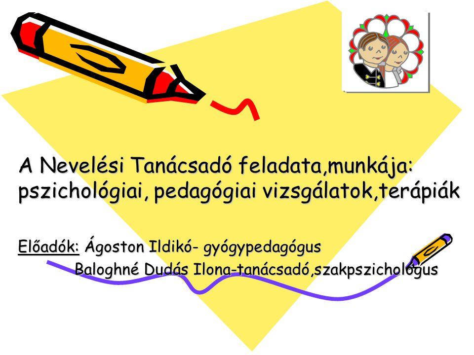 A Nevelési Tanácsadó feladata,munkája: pszichológiai, pedagógiai vizsgálatok,terápiák