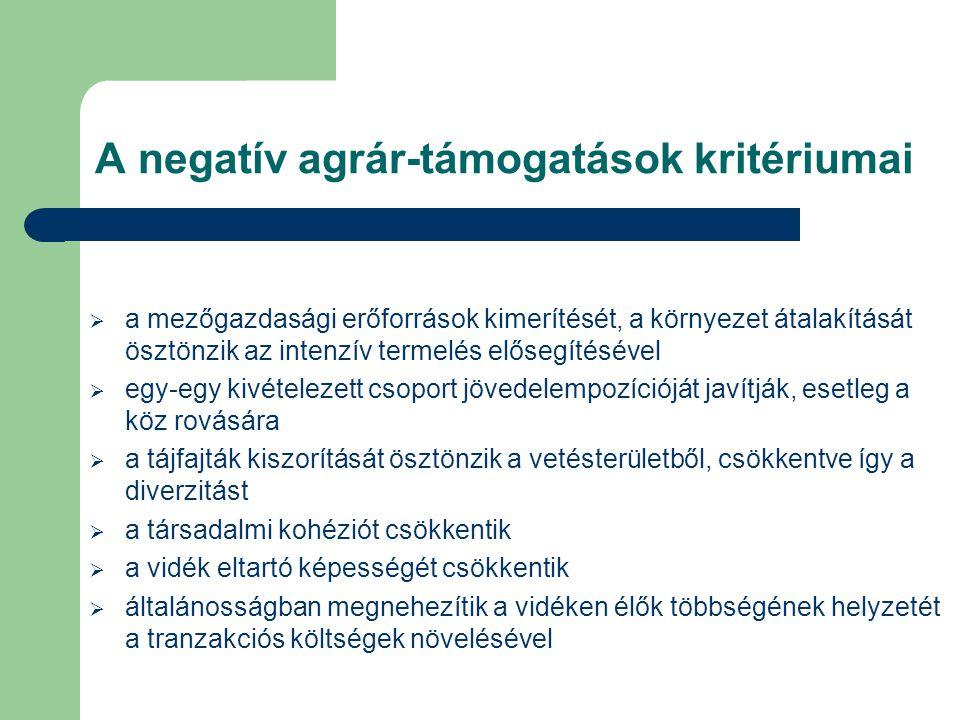 A negatív agrár-támogatások kritériumai
