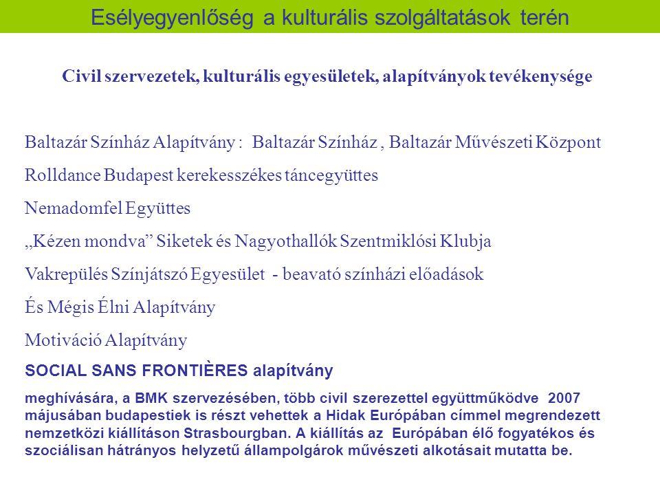 Civil szervezetek, kulturális egyesületek, alapítványok tevékenysége