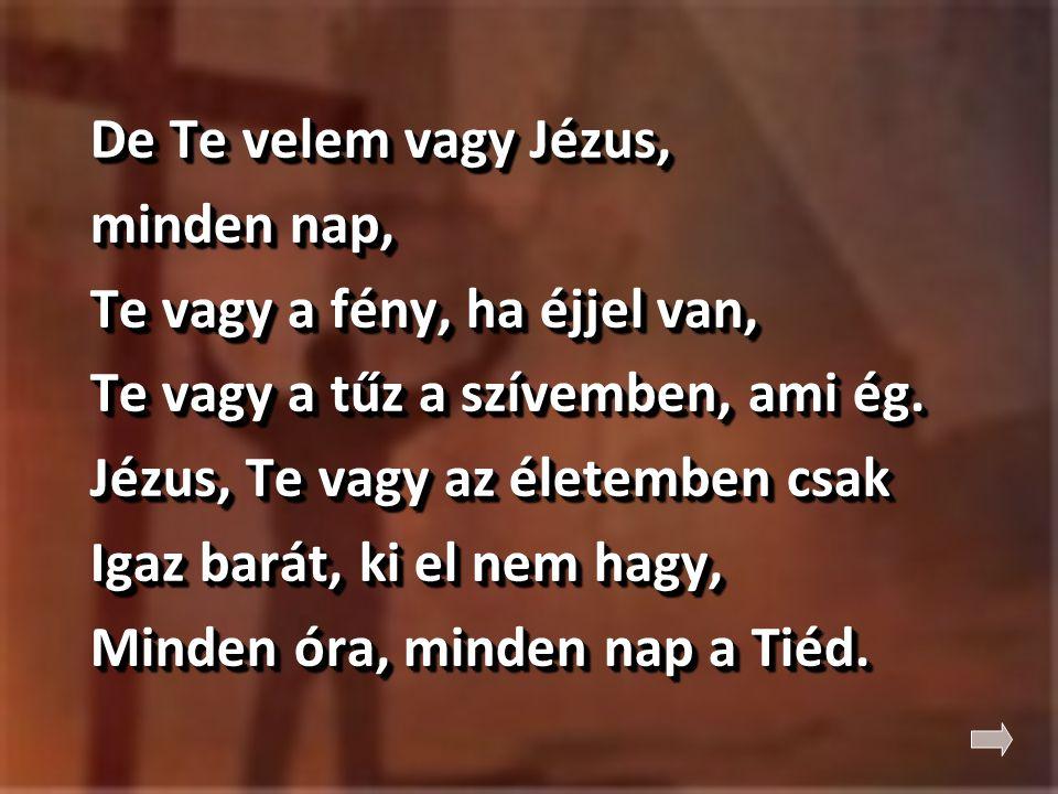 De Te velem vagy Jézus, minden nap, Te vagy a fény, ha éjjel van, Te vagy a tűz a szívemben, ami ég.