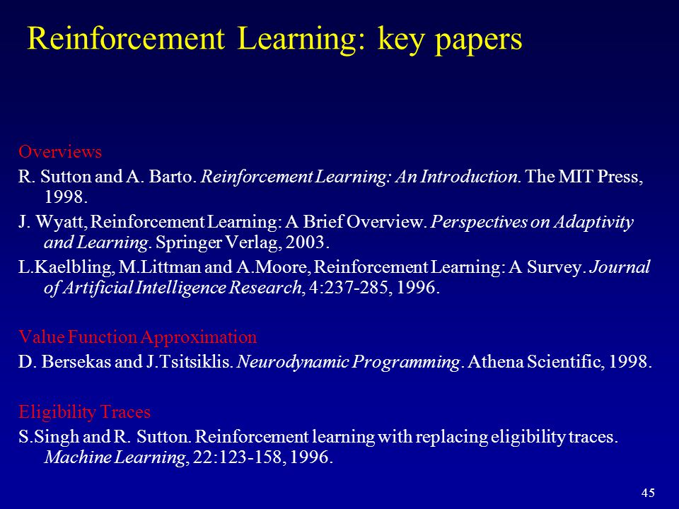 Reinforcement Learning: key papers
