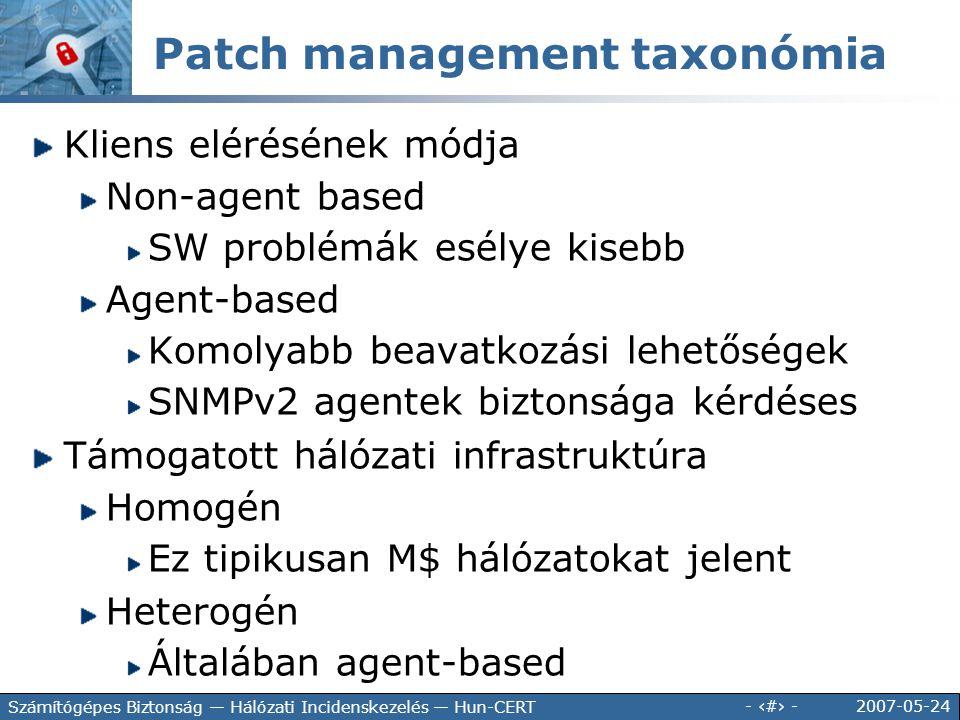 Patch management taxonómia