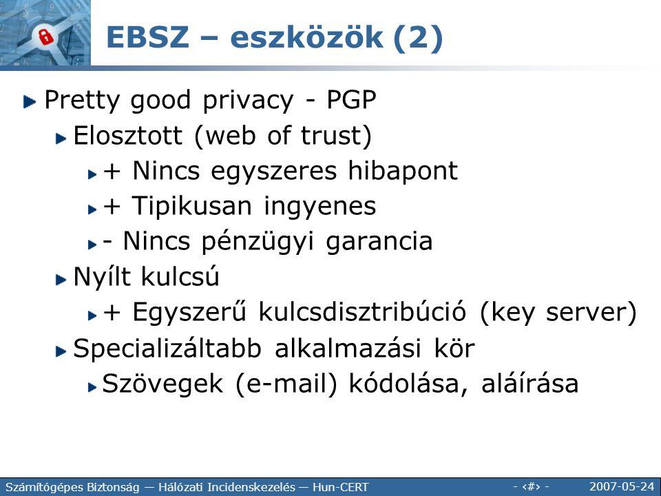 EBSZ – eszközök (2) Pretty good privacy - PGP Elosztott (web of trust)