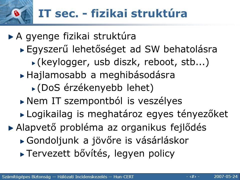 IT sec. - fizikai struktúra