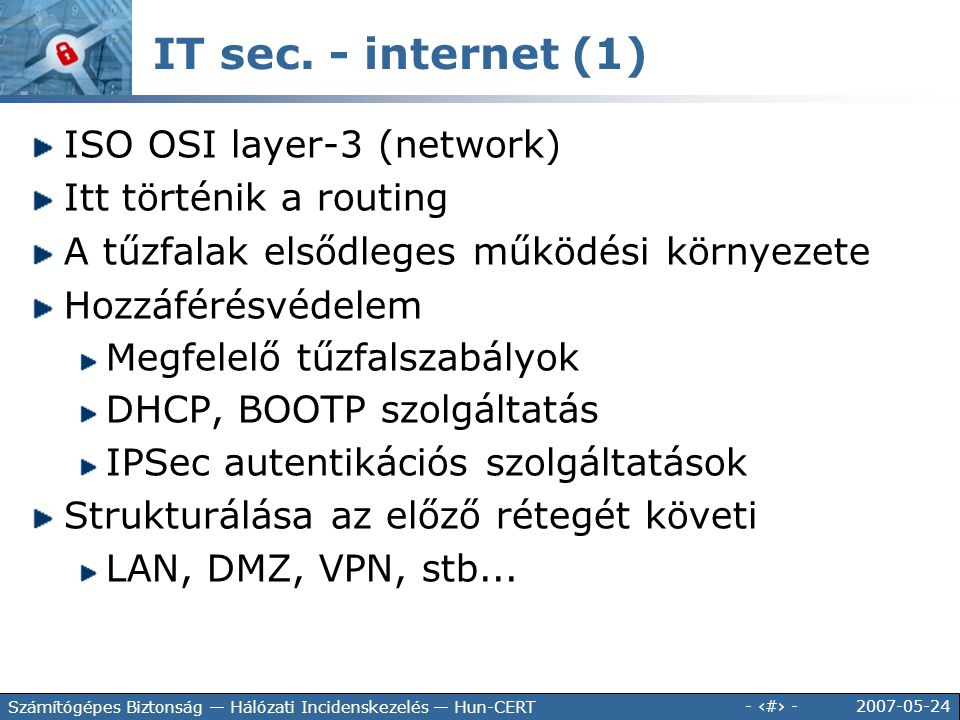 IT sec. - internet (1) ISO OSI layer-3 (network)