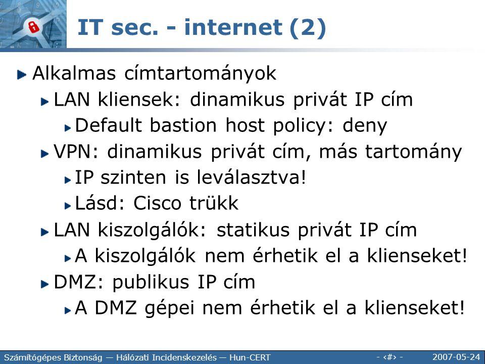 IT sec. - internet (2) Alkalmas címtartományok