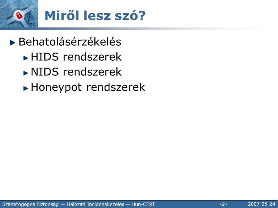 Miről lesz szó Behatolásérzékelés HIDS rendszerek NIDS rendszerek