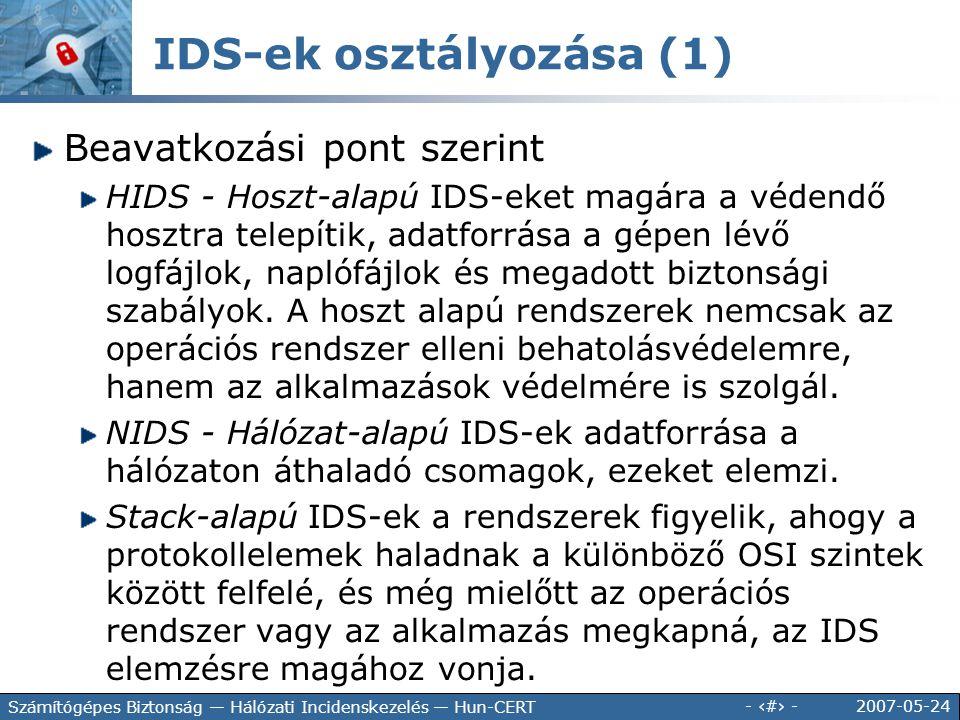 IDS-ek osztályozása (1)