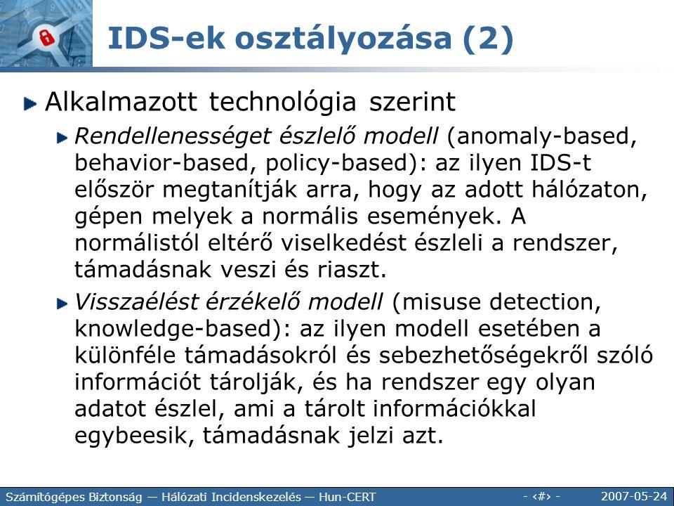 IDS-ek osztályozása (2)