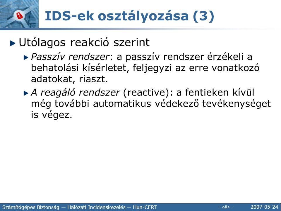 IDS-ek osztályozása (3)