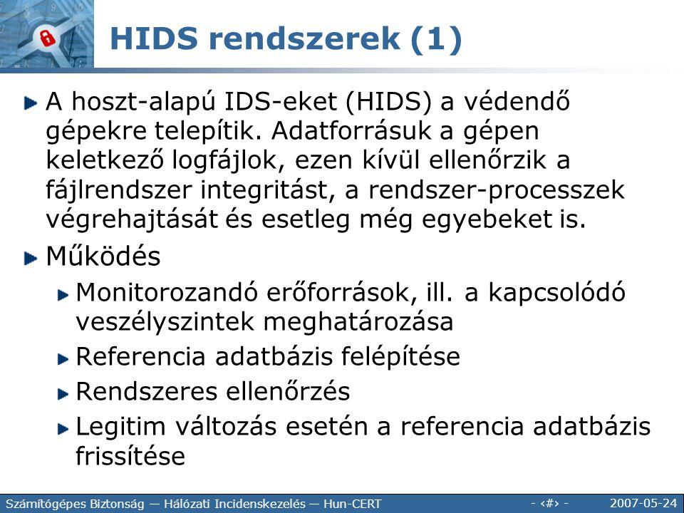 HIDS rendszerek (1) Működés