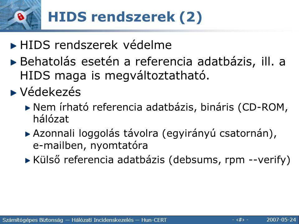 HIDS rendszerek (2) HIDS rendszerek védelme