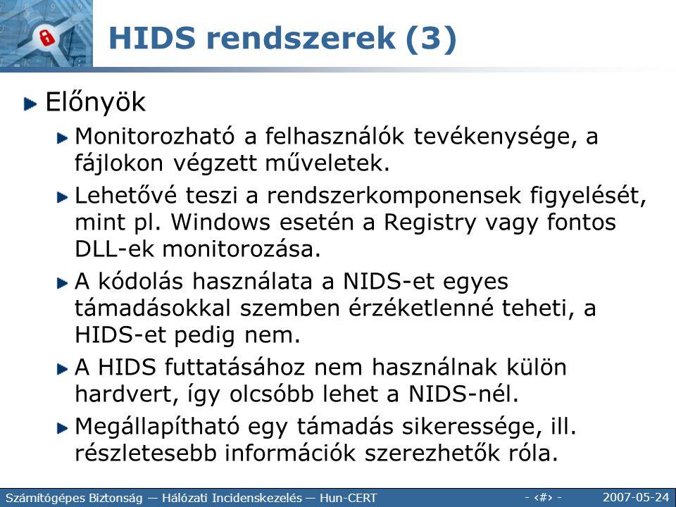HIDS rendszerek (3) Előnyök