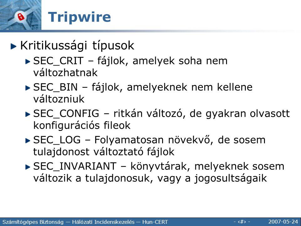 Tripwire Kritikussági típusok