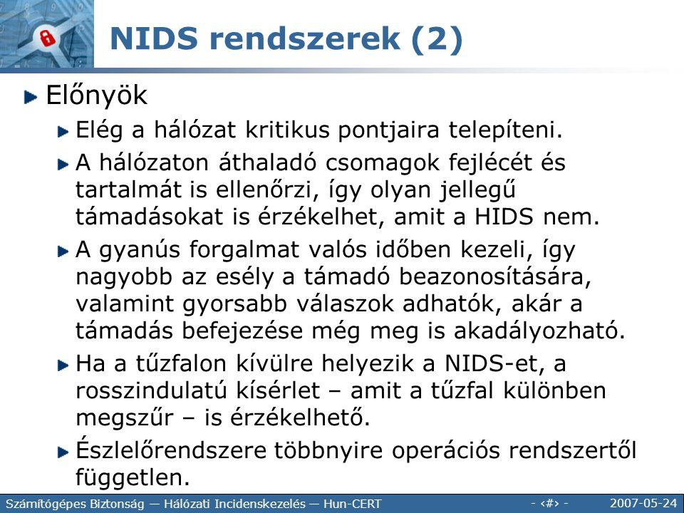 NIDS rendszerek (2) Előnyök