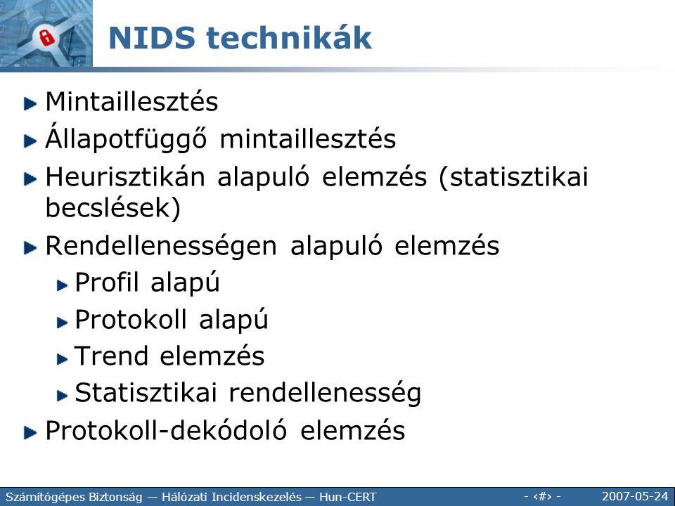 NIDS technikák Mintaillesztés Állapotfüggő mintaillesztés