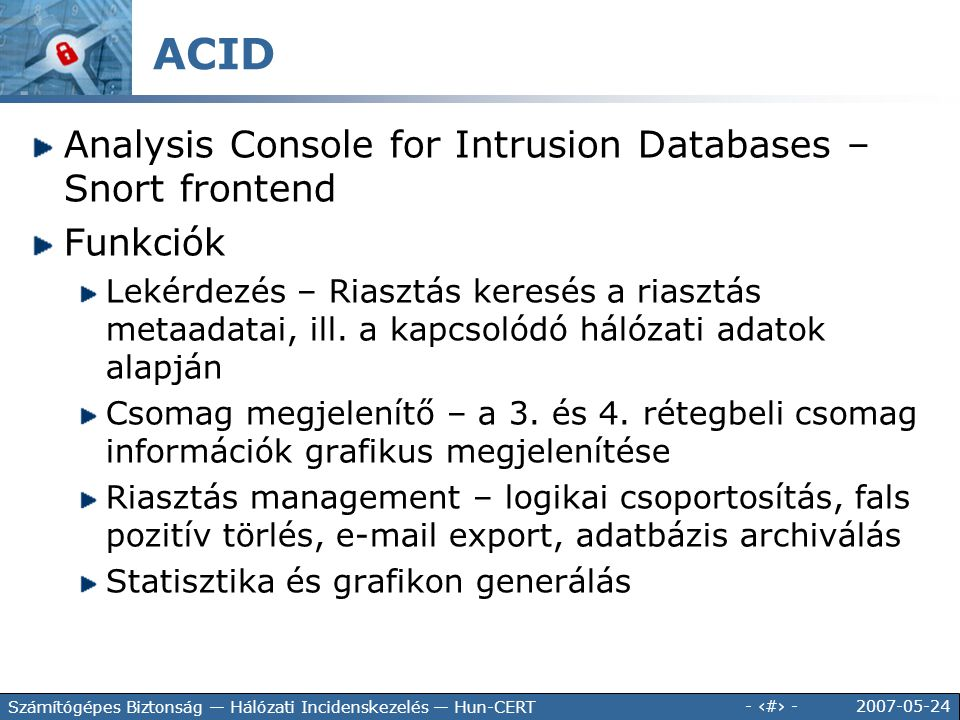 ACID Analysis Console for Intrusion Databases – Snort frontend
