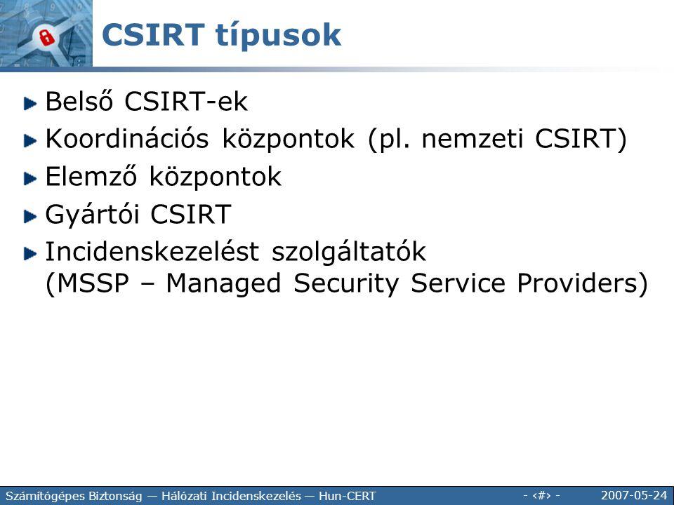 CSIRT típusok Belső CSIRT-ek