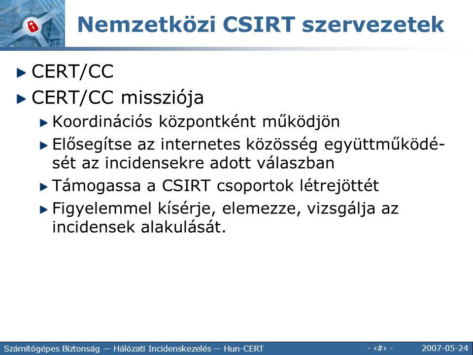 Nemzetközi CSIRT szervezetek