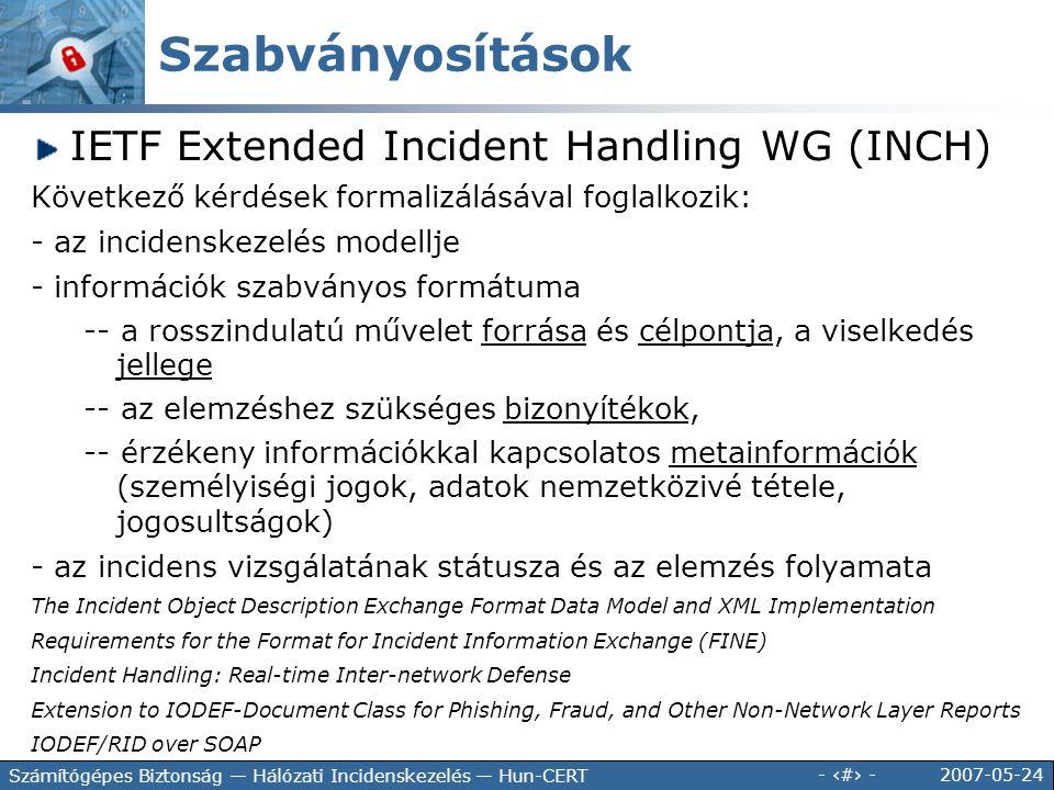Szabványosítások IETF Extended Incident Handling WG (INCH)