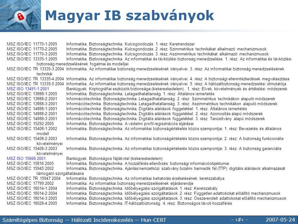 Magyar IB szabványok MSZ ISO/IEC 11770-1:2005 Informatika. Biztonságtechnika. Kulcsgondozás. 1. rész: Keretrendszer.