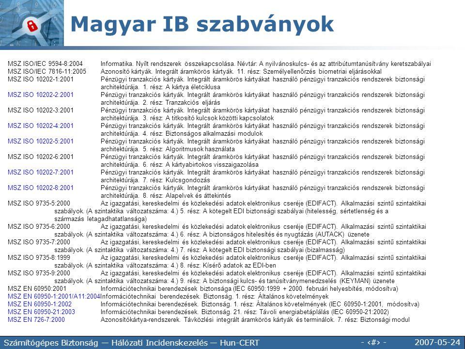 Magyar IB szabványok 35.100.70 Alkalmazási réteg