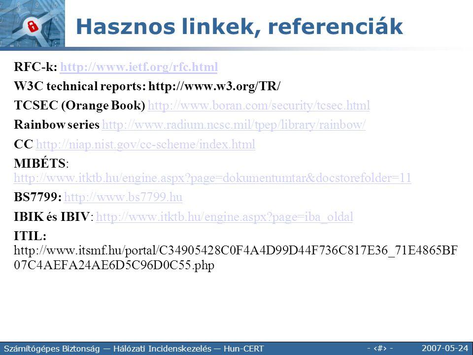 Hasznos linkek, referenciák
