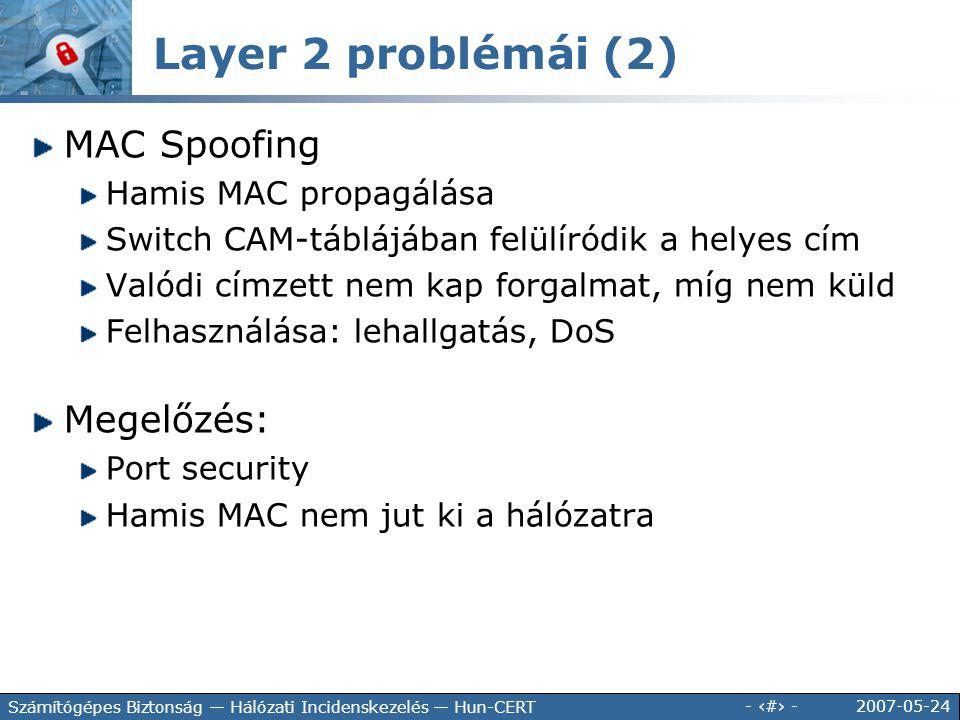 Layer 2 problémái (2) MAC Spoofing Megelőzés: Hamis MAC propagálása