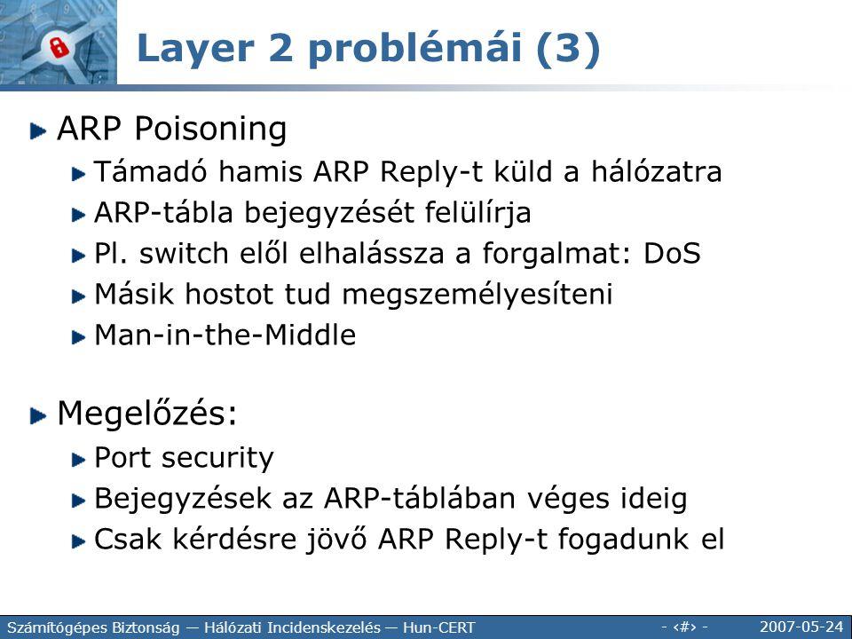 Layer 2 problémái (3) ARP Poisoning Megelőzés: