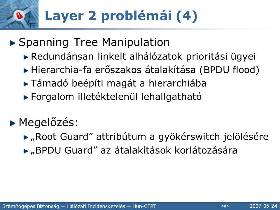 Layer 2 problémái (4) Spanning Tree Manipulation Megelőzés: