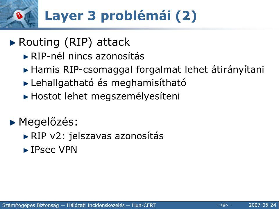 Layer 3 problémái (2) Routing (RIP) attack Megelőzés: