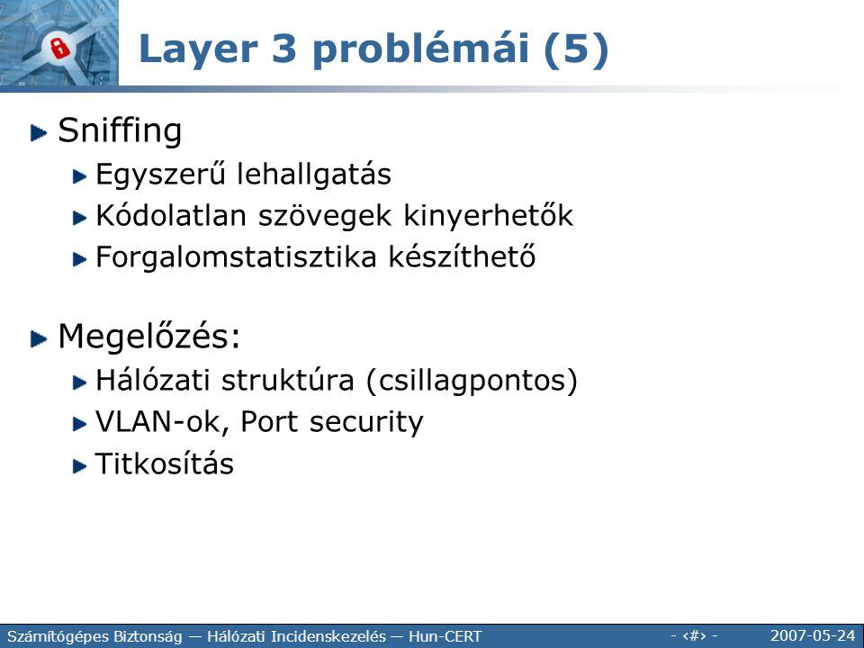Layer 3 problémái (5) Sniffing Megelőzés: Egyszerű lehallgatás