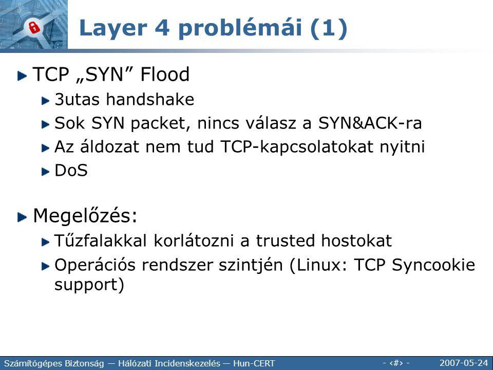 """Layer 4 problémái (1) TCP """"SYN Flood Megelőzés: 3utas handshake"""